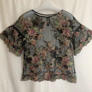 Sundance beaded, embroidered black mesh blouse S